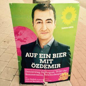 Auf ein Bier mit Özedmir Bundestagswahl 2017 Wahlkampf Die Grünen Wahlplakat