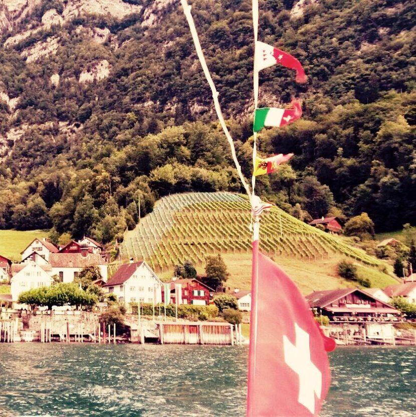 Schweiz Walensee Switzerland Alpen Schweizer Flagge