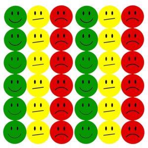 Smileys Bewertung grün gelb rot