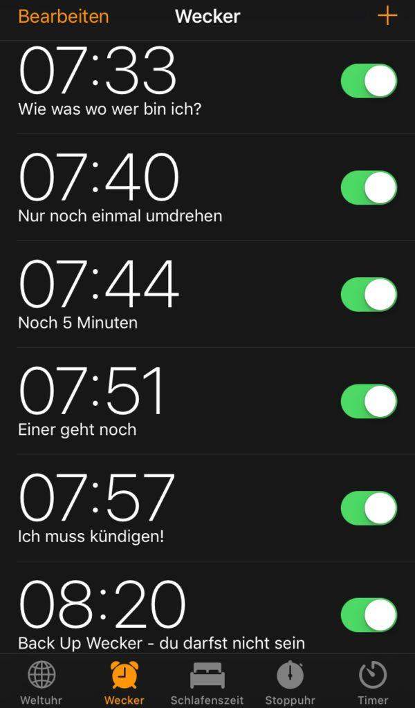 Wecker Snoozen Schlummern