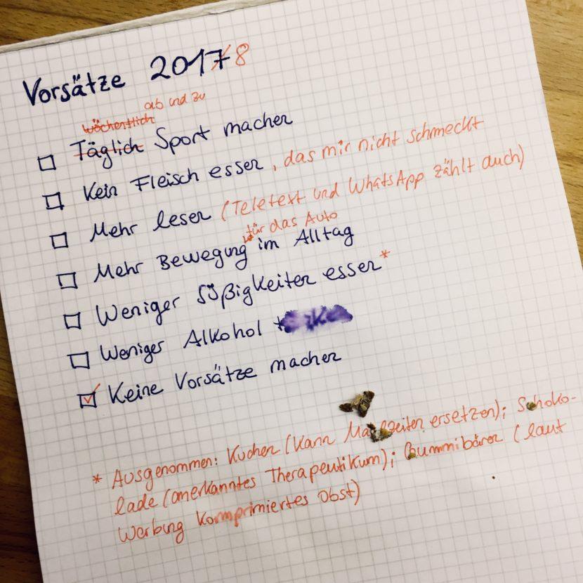 Vorsätze Neujahrsvorsatz 2018 Liste