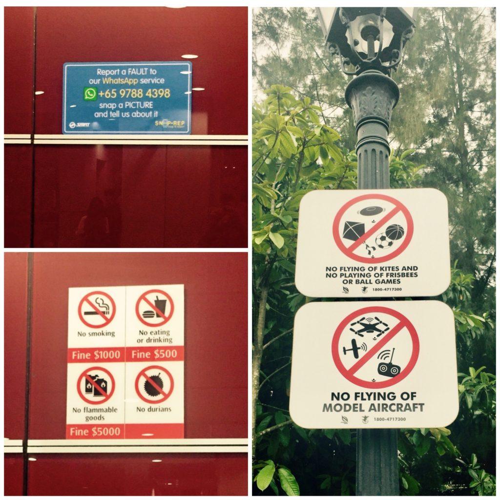 Singapur Schilder Regeln Strafen