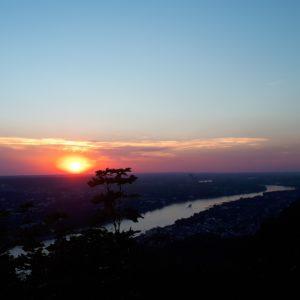 Sommernacht Sonnenuntergang Rhein Bonn