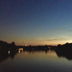 Sommernacht Sonnenuntergang Dämmerung Sommer Hamburg Alster