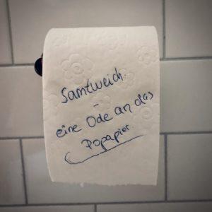 Klopapier Toilettenpapier WC Hamsterkauf Corona Popapier Ode Gesicht Poesie