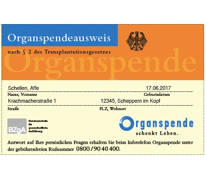 Organspendeausweis Organspende